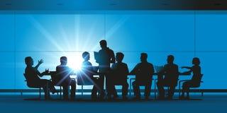 Utbyte för höga chefer i en mötesrum stock illustrationer