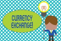 Utbyte f?r valuta f?r ordhandstiltext Affärsidé för process av att ändra en valuta in i ett annat stå för ForEx stock illustrationer
