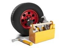 Utbyte och reparation av automobien Arkivbild