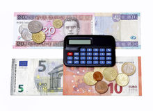 utbytet för euroet för den litasLits omställningen Litauen 2015 myntar sedlar som januari beräknar Royaltyfri Bild