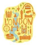 Utdragen översikt för hand av London i tecknad filmstil royaltyfri illustrationer