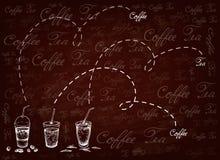 Utdragen bakgrund för hand av med is kaffe och te vektor illustrationer