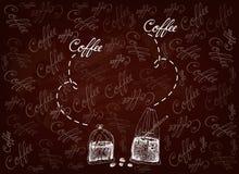 Utdragen bakgrund för hand av thailändskt med is kaffe och te stock illustrationer