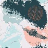 Utdragen bakgrund för idérik hand med rosa blåa marinbeståndsdelar för modeller Dynamisk collage för garneringgrunge Design för t vektor illustrationer