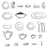 Utdragen blyertspennauppsättning av kökredskapet och samling av bordsservisillustrationen Royaltyfri Bild