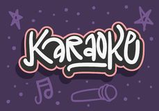 Utdragen bokstäver för karaokehand för bild för vektor för för affischannonsreklamblad eller klistermärke royaltyfri illustrationer