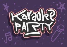 Utdragen bokstäver för karaokepartihand för bild för vektor för för affischannonsreklamblad eller klistermärke royaltyfri illustrationer