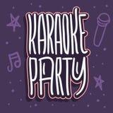 Utdragen bokstäver för karaokepartihand för bild för vektor för för affischannonsreklamblad eller klistermärke stock illustrationer