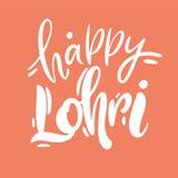 Utdragen bokstäver för lycklig Lohri hand Indisk brasafestival isolerat stock illustrationer