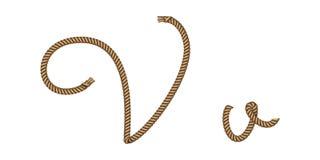 Utdragen bokstav V för rephand royaltyfri illustrationer