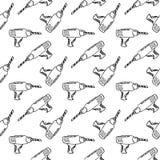 Utdragen drillborr för sömlös modellhand Klottersvart skissar r vektor illustrationer