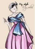 Utdragen härlig ung kvinna för hand i kjol och blus Stilfulla Autumn Outfit Modekvinnablick Modemodell som poserar för att skissa stock illustrationer