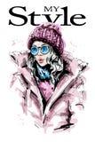 Utdragen härlig ung kvinna för hand i toppluva Stilfull flicka i ner omslag Modekvinnablick vektor illustrationer