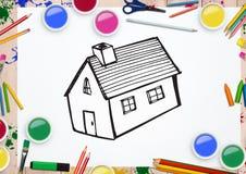 Utdragen husform på vitbok med färg ritar Arkivbilder