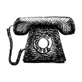 Utdragen illustration för gammal retro telefontappninghand royaltyfri illustrationer