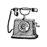 Utdragen illustration för gammal retro telefontappninghand vektor illustrationer