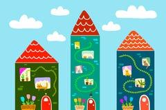 Utdragen illustration för gullig mycket liten hand för husstadslandskap med katter stock illustrationer