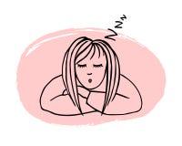 Utdragen illustration för hand av den trötta sova flickan som isoleras på rosa bakgrund royaltyfri illustrationer