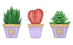 Utdragen illustration för hand med uppsättningen av husväxter royaltyfria bilder