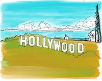 Utdragen illustration f?r Hollywood teckenhand vektor illustrationer