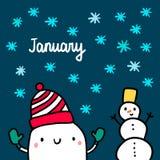 Utdragen illustration för Januari hand med den gulliga marshmallowen och snögubben stock illustrationer