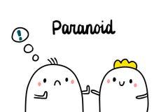 Utdragen illustration för paranoid psychopathyhand med gulliga marshmallower royaltyfri illustrationer