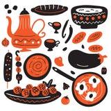 Utdragen illustration för rolig hand av den traditionella mitt - östlig kokkonst bakgrund isolerad white vektor illustrationer