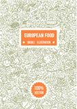 Utdragen illustration för vektorhand av den europeiska matklotterillustrationen på vit bakgrund stock illustrationer