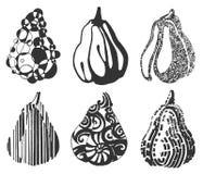 Utdragen illustration för vektorhand av fruktstylization på vit bakgrund vektor illustrationer