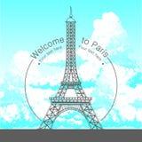Utdragen illustration för vektorhand av Paris den berömda byggande konturn på vit bakgrund royaltyfria bilder