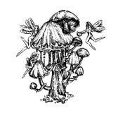 Utdragen illustration för vektorhand av tatueringchampinjonhanden att drunkna för att skissa illustrationen på vit bakgrund vektor illustrationer