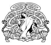 Utdragen illustration för vektorhand av tigrar och den nätta nakna kvinnan med beståndsdelar stock illustrationer