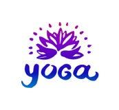 Utdragen illustration för vektorhand av yogalogoillustrationen på vit bakgrund royaltyfri illustrationer