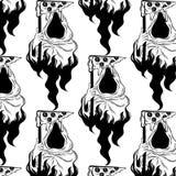Utdragen illustration för vektormodellhand av död med skivan av pizza stock illustrationer