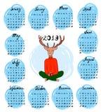 Utdragen kalender för hand för 2019 stock illustrationer