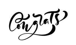 Utdragen kalligrafi för vektorhand som märker text Congrats Eleganta moderna handskrivna lyckönskan citerar Färgpulverillustratio stock illustrationer