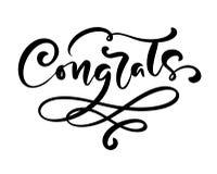 Utdragen kalligrafi för vektorhand som märker text Congrats Eleganta moderna handskrivna lyckönskan citerar Färgpulverillustratio royaltyfri illustrationer