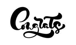 Utdragen kalligrafi för vektorhand som märker text Congrats Eleganta moderna handskrivna lyckönskan citerar Färgpulverillustratio vektor illustrationer