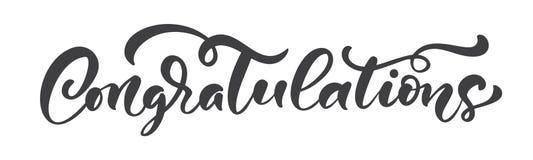 Utdragen kalligrafi för vektorhand som märker text isolerade lyckönskan Elegant modernt handskrivet congratscitationstecken Färgp vektor illustrationer