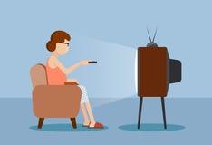 Utdragen karikatyr kvinnan nära TV:N vektor illustrationer