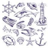 Utdragen marin- uppsättning för hand Hjul för styrning för ankare för seagull för livboj för skal för fnuren för haj för fyr för  royaltyfri illustrationer