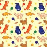 Utdragen modell för sömlös hand för kattvänner och ungar stock illustrationer