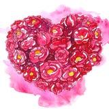 Utdragen romantisk hjärta för vattenfärghand av blommor vektor illustrationer