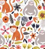 Utdragen sömlös bakgrund för hand med apor, sengångare, bananer och blommor vektor illustrationer