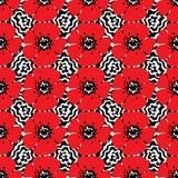 Utdragen sömlös modell för hand av röda vallmo på vågbakgrund ocks? vektor f?r coreldrawillustration stock illustrationer