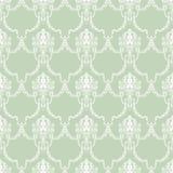 Utdragen sömlös modell för hand med den gröna klassiska prydnaddekoren royaltyfri illustrationer