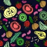 Utdragen sömlös modell för hand med frukt och grönsaker för yttersidadesign, affischer, illustrationer Sunt foodstema vektor illustrationer