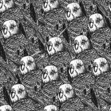 Utdragen sömlös modell för hand med papegojor vektor illustrationer