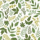 Utdragen sömlös modell för hand - salladgräsplaner och sidor som isoleras på vit bakgrund i moderiktig organisk stil också vektor stock illustrationer