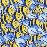 Utdragen sömlös modell för vattenfärghand med bin vektor illustrationer
